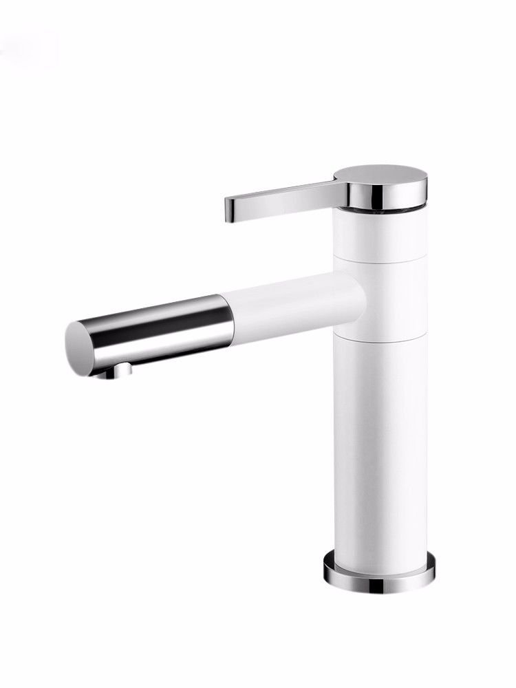 Low White NewBorn Faucet Kitchen Or Bathroom Sink Mixer Tap Water Tap Brass Single Handle Single Hole Cold And Hot Sitting In Line Can Be redated 360° To Draw-Down White Dwarfs