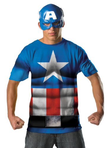 Superhero Captian America Costume T-Shirt and Mask Theatrical Mens Costume Sizes: XX-Large