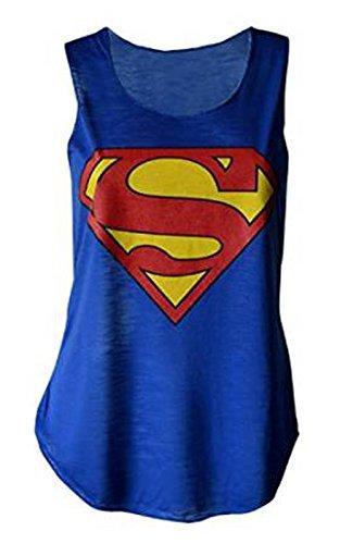 MyMixTrendz - Womens Superman Superhero Print Vest Tank Top (US 4-6)