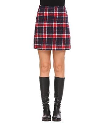 Vansop Women's Winter A Line Plaid Warm Tunic High Waisted Plaid Mini Skirt(S-XXL)