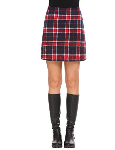 Check Print Skirt (Declare Women's Female Loose Red Contrast Check Print A-Line Mini Skirt(Red XL))