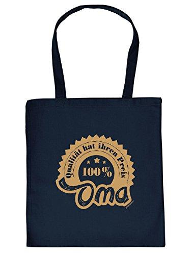 Stofftasche - Qualität 100% Oma - lustig bedruckte Umhängetasche für Omas mit Humor - Baumwolltasche Tragetasche mit witzigem Spruch