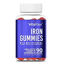 Iron Supplement Gummy Vitamins for Women, Men & Kids [ Immune Support ] Iron Gummies Include Multivitamin + B complex, Vitamin C, A, Biotin & Zinc - Increases hemoglobin & helps with anemia - 90 Count