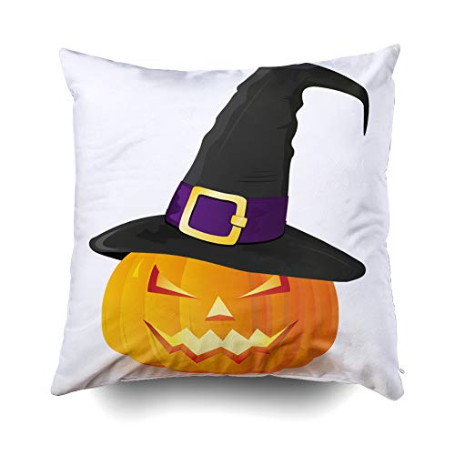 Musesh Jack-O-Lantern Halloween Pumpkin with Witches hat Isolate Cushions Case Throw Pillow Cover for Sofa Home Decorative Pillowslip Gift Ideas Household Pillowcase Zippered Pillow Covers 16X16Inch
