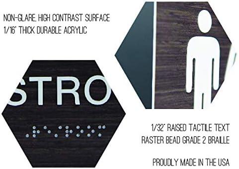 Bathroom Dark Wood Sign Set w//Braille Non-Accessible//Wheelchair Men /& Women ADA Restroom