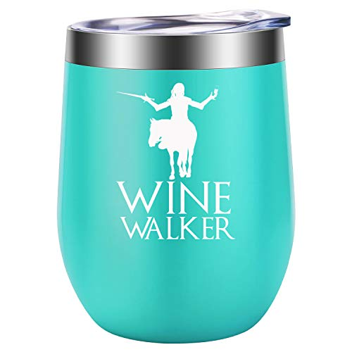 Wine Walker - GOT White Walkers Night King Inspired Merchandise Gift Idea - Funny Birthday, Mother's Day Gifts for Women, Mom, Wife - LEADO 12oz Insulated Stemless Wine Tumbler Cup -
