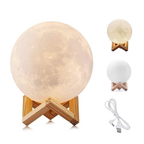 WYCY Impresión 3D Moon Light 2 colores Lámpara de luna conmutada y control táctil Brillo con puerto de carga USB Hermoso...