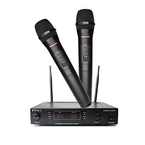 Phenyx Pro Dual VHF Wireless Microphone System, Fixed Frequency, Two Handheld, Stable Signal, Easy Setup, Best for Home Use, Church, Youtube, Karaoke, Party Events (PTV-1)