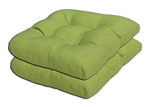 Low Back Rocker (Bossima Indoor/Outdoor Green Wicker Seat Cushions, set of 2,Spring/Summer Seasonal Replacement Cushions.)