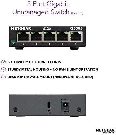 NETGEAR 5Port Gigabit Ethernet Unmanaged Switch GS305  Desktop Sturdy Metal Fanless Housing