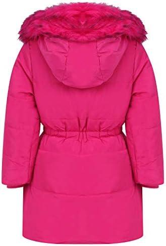 Aelstores Girls Fleece Parka Jackets Faux Fur Hooded Long Winter Coats Waterproof Kids School Anoraks Age 3-14 Years
