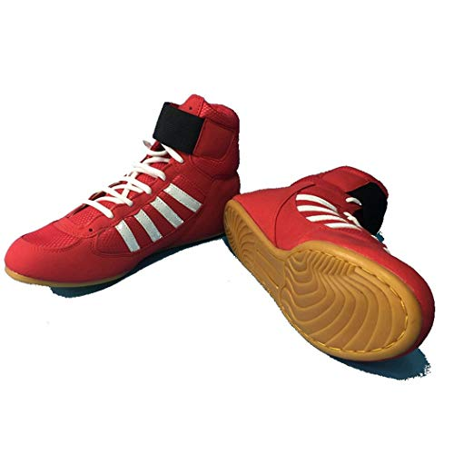 Goupos Men Lace-Up Cow Muscle Wrestling Shoes Breathable Training Boxing Sneakers Red
