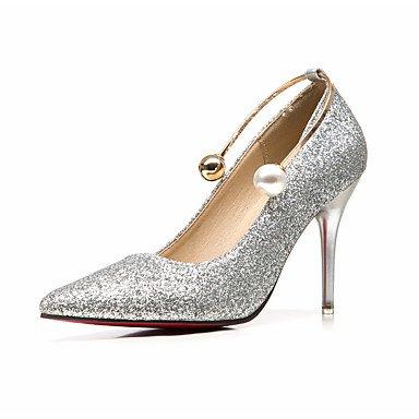 LvYuan-GGX Damen High Heels Formale Schuhe Glanz Frühling Herbst Hochzeit Kleid Party & Festivität Formale Schuhe Perle Stöckelabsatz Gold Silber Rot Silber us6   eu36   uk4   cn36
