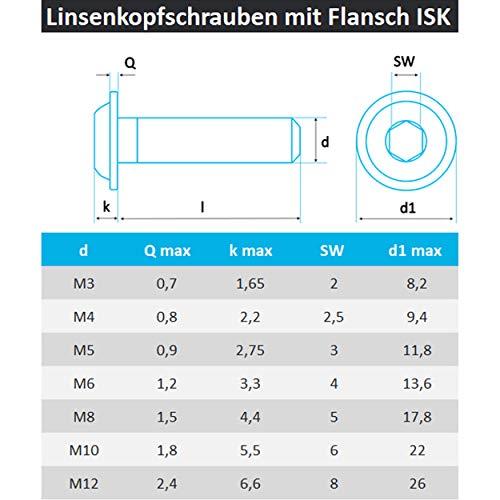 schwarz matt Edelstahl V2A 50x M8x30 Screws4Bikes ISO 7380-2 mit Innensechskant Linsenkopfschrauben mit Flansch