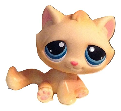 Orange Cream Cat - Littlest Pet Shop Yellow Cream Tabby Kitten Cat with Orange Stripes and Blue Eyes #122 LOOSE/Packaged in Parts Bag