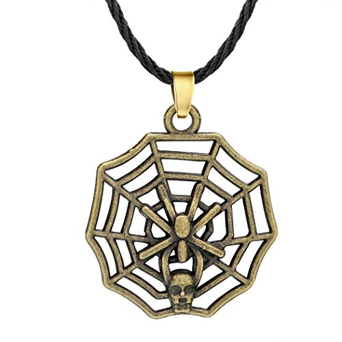 (Eiffy Antique Carved Religious Cross Crescent Moon Face Pendant Necklace Bronze Vintage Skull Spider Web Necklaces Jewelry (Spider))