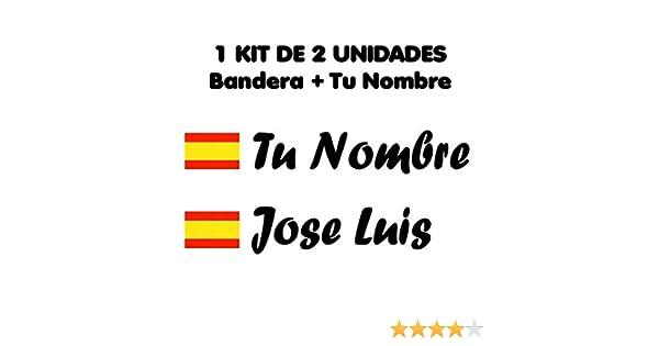 Pegatina Vinilo Bandera España + tu Nombre - Bici, Casco, Pala De Padel, Monopatin, Coche, Moto, etc. Kit de Dos Vinilos (Negro)