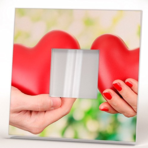 Hearts in Two Hands Wall Framed Mirror with Romantic Love Couple Printed Art Home Room Design - Pictures Mirror Couple
