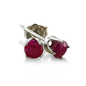 4mm Ruby Stud Earrings crafted in Sterling Silver .60ct tgw by SuperJeweler
