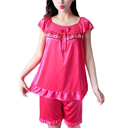 Women's Sexy Lace V-Neck Nightdress Lingerie Sexy Sleepwear Pajama Sets Shorts Set Hot Pink