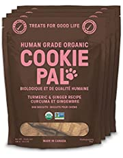 CookiePal Human Grade Dog Treats, Turmeric and Ginger Recipe, Organic, Non-GMO, Simple Ingredients, 4 Pack - 6 oz Bags