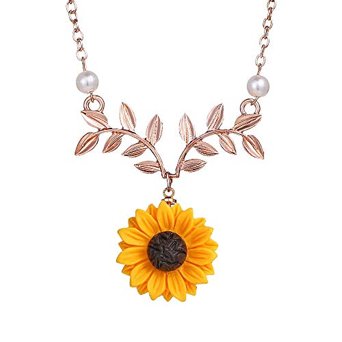Bracet Sweet Sunflower Pearl Leaf Pendat Necklace Resin Daisy Flower Clavicular Chain Fashion Jewelry for Women (Rose)