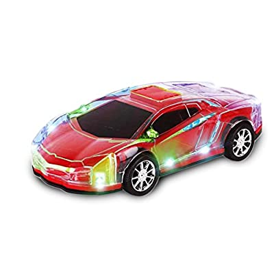 INTEGEAR Electronic Toy Sports Car with colorful LED Lights and Sound, Kid Toys for Boys Girls (Colors Vary)