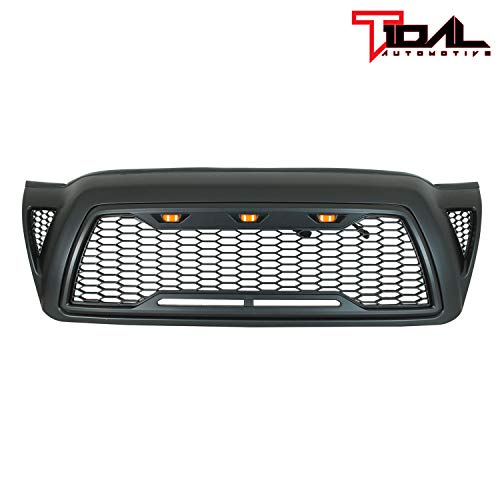 Tidal Replacement Grille Front ABS Grill With 3 Amber LED Lights – Matte Black for 2005-2011 Toyota Tacoma