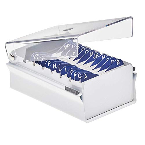 Acrimet Index Business Card Size File Holder Organizer Metal Base Heavy Duty (White Color with Crystal Plastic Lid Cover)