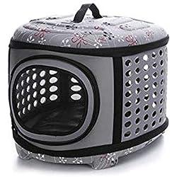 Soft Sided Pet Carrier Foldable EVA Pet Carrier Puppy Dog Cat Outdoor Travel Shoulder Bag for Small Dog Pets Soft Dog Kennel Pet Carrier Bag Pattern 9 L Gray