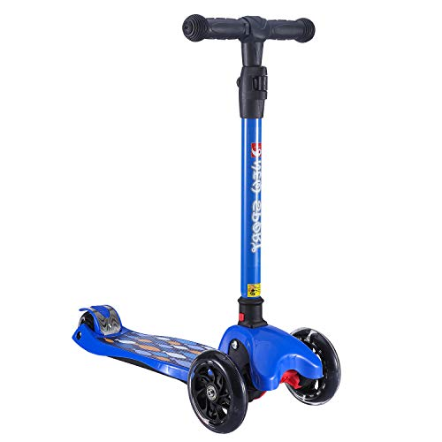 NEW OLYM Kick Scooter for Kids, 3 Big Flashing Wheels Maxi Foldable Skateboard Scooters with Deluxe T-Bar Wide Deck Surface-safety Balance Technology | Halloween Gifts for Children 3-15 Years Blue - Large Skateboard Wheels