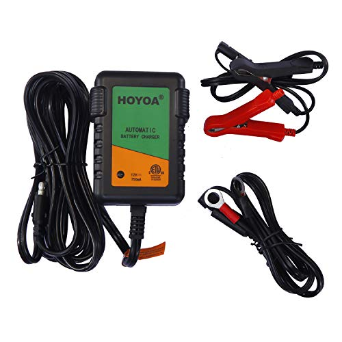 HOYOA Automatic Battery Float Trickle Charger Maintainer 12v 750mA for Car Boat Household Motorcycle Automotive