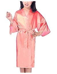 Mobarta Kids' Satin Kimono Robe Girls Bathrobe for Spa Party Birthday Gift