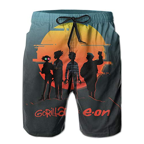 Gorillaz Eon Mens 3D Quick Dry Breathable Swim Trunk Surf Beach Shorts Board Shorts with Pocket Drawstring White