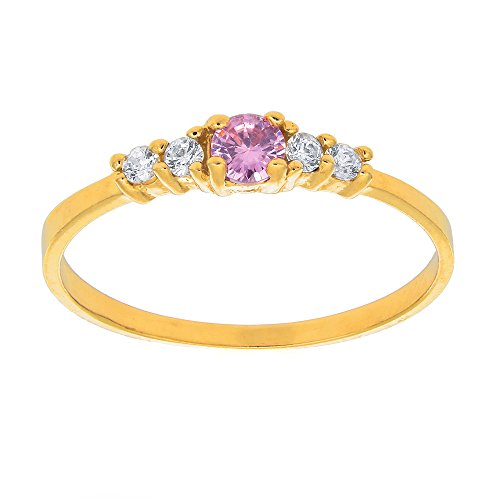 Yellow Gold Kids Ring (JewelStop 14k Solid Yellow Gold Pink CZ Children's Ring, Sz 3.5)