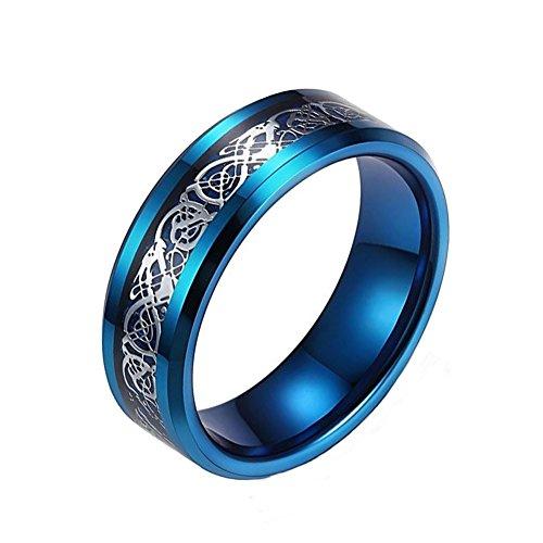 5c51a6b2d005 8 mm azul dragón Celta anillo de boda banda de acero inoxidable anillos  joyería Size7 –