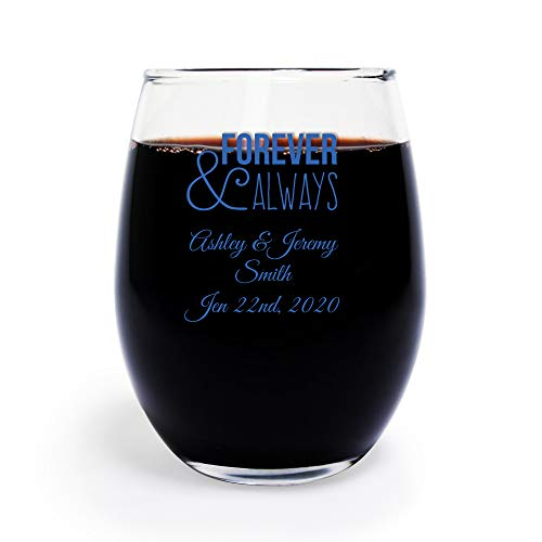 (Forever and Always 9 Oz Toasting Glasses, Case of 48 Custom Printed Stemless Wine Glasses (Blue Ink), Engagement Party Favor Bridal Shower)