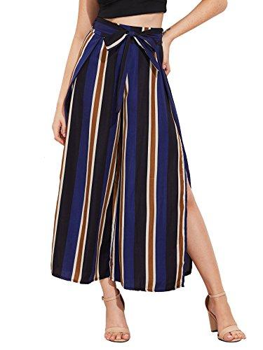 Navy Striped Pants - SweatyRocks Women's Striped High Waisted Lounge Wide Leg Palazzo Pants Capris Navy L