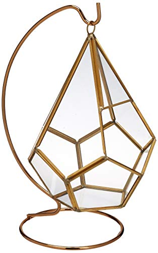 Circleware Hanging Glass Terrarium with Stand - Gold Geometric Tear Drop Shaped Holder For Succulents & Air Plants ()