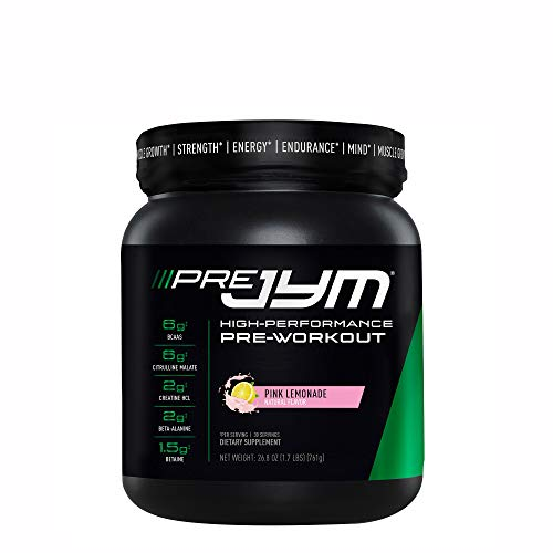 Pre JYM Pre Workout Powder - BCAAs, Creatine HCI, Citrulline Malate, Beta-Alanine, Betaine, and More | JYM Supplement Science | Pink Lemonade, 30 Servings
