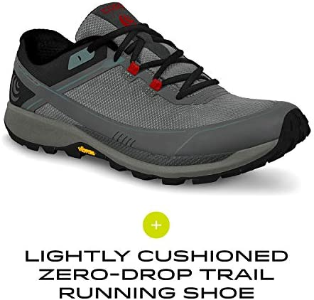 TOPO ATHLETIC Men 's Runventure 3, Color: Grey/Red, Size: 13 (M035-130-GRYRED)