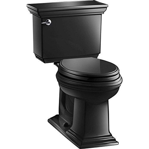 KOHLER K-3819-7 Memoirs Comfort Height Two-Piece Elongated 1.6 gpf Toilet with Stately Design, Black Black