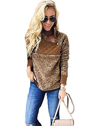 Gyozelem Womens Long Sleeve Sherpa Fleece Pullover Coat Sweatshirt Outwear Tops Sweater Small Coffe by Gyozelem