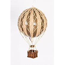 "Authentic Models Holiday Hot Air Balloon Decoration (3.25"", Gold and Ivory)"