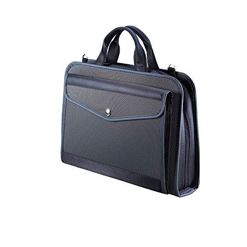 KINARY Expanding Professional Large Size Business Briefcase,6-Pockets Expanding Accordion File Folder, Retractable Handles,Interior 13.3 Inch Tablet,iPad,Anything (Black)