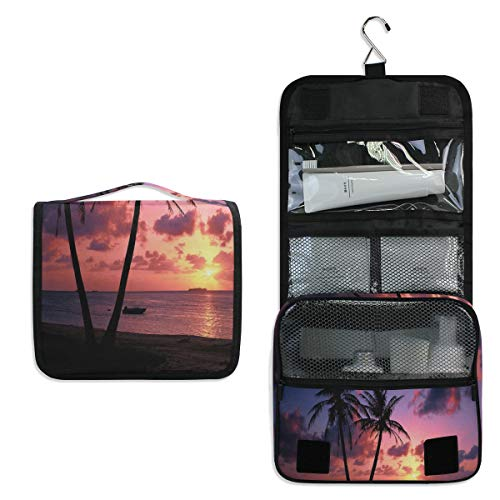 Hanging Toiletry Bag Palm Trees Sunset Large Capacity Travel Bag for Women and Men - Toiletry Kit, Cosmetic Bag, Makeup Bag - Travel Accessories