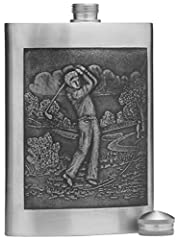 "This Pewter flask has a twist off cap and is made to hold 5 oz of spirits. Measuring 4.7"" X 3.3"", it features a timeless classic design etched on the front of the flask. Slim and sleek, these flasks are loved by both sexes. Made in Thailand. ..."