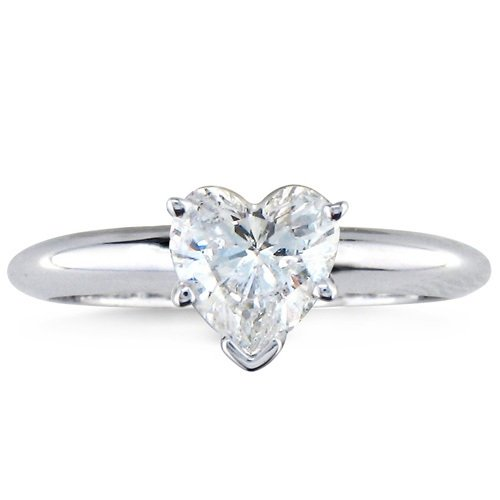 (18K White Gold Solitaire Diamond Engagement Ring Heart Cut (H Color SI1 Clarity 0.73 ctw) - Size 5.5)