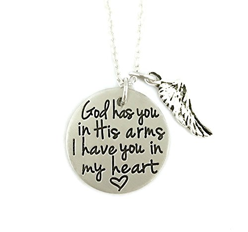 God Has You In His Arms I Have You In My Heart Wing Necklace - Hand Stamped Jewelry - Personalized Jewelry ()