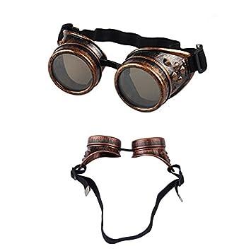 b78aeec8aa68 Demarkt Steampunk Goggles Welding Vintage Style Punk Glasses Cosplay  Windproof Sunglasses